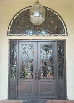 Wrought iron front entry door, Chino Hills