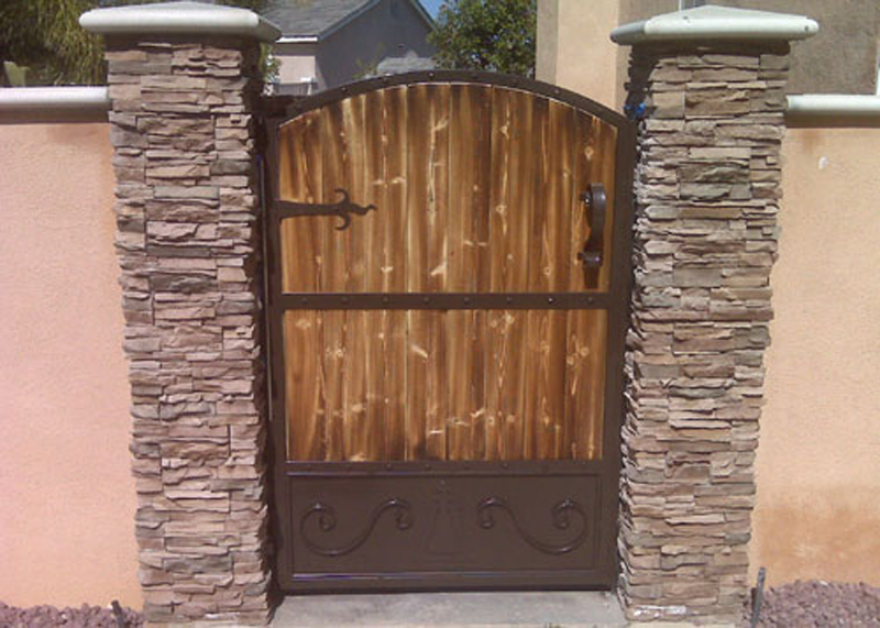 Marquez iron works gallery ornamental iron and wooden for Single wooden driveway gates