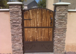 Marquez iron works gallery wooden and iron fence and for Single wooden driveway gates